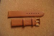 REAL LEATHER TAN WATCH STRAP WITH GOLD BUCKLE 20MM