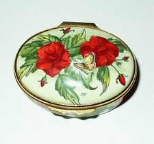 HALCYON DAYS ENGLISH ENAMEL BOX - RED POPPY FLOWERS - POPPIES - GUMP'S EXCLUSIVE