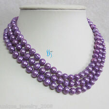 "50"" 6-8mm Purple Freshwater Pearl Necklace Strands Jewelry"