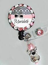 DELUXE CUSTOM NAME ID REEL BLING BADGE HOLDER with Charm NURSE, Teacher ETC