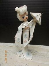 MADE IN JAPAN - PORCELAIN GEISHA GIRL W/ UMBRELLA - ANIME LOOK - GIRL FIGURINE