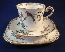 Up To 5 Vintage Tuscan China Art Deco Bird Of Paradise Trio Tea Cup Saucer Plate