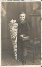 Schule, Schulanfang, Mädchen mit Schultüte und Brottasche, alte Privat-Foto-Ak