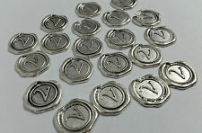 20 x Silver Letter V CHARMs PENDANTs Vintage Steampunk Jewellery Necklace Coins