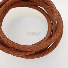51 inches 6mm Round Tan Braided Genuine Leather Cord for DIY Jewelry/Necklace