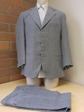 Faconnable Suit – 3 Button Single Breasted Size M Grey Striped Working Buttons