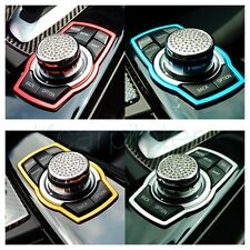 1Pcs Car Multimedia Rotating Silver Lustre Stainless Auto Decoration Ring Button