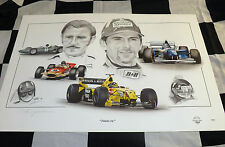 BRM 57 Lotus 49 WILLIAMS FW18 JORDAN F1 Graham DAMON HILL NUOVO pittura arte print