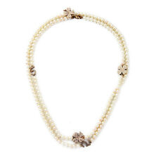 Exquiste J CREW Rhinestone Flower Number 5 Pearl Strand Necklace
