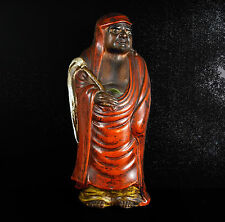 Ecole Zen Bodhidharma 菩提达摩 達磨 moine bouddhiste Japon XIX Japan sculpture H:26 cm