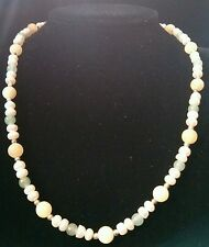 Freshwater Pearl, Yellow Jade, Green Jade and Sterling Silver Necklace 17in