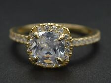 RM07 2.00ct Created Cushion Diamond Engagement Ring Size 7 14k Yellow Gold