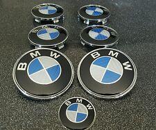 7 pcs 82x82mm carbone bleu embleme logo BMW Capot Coffre Volant Roue Cache Moyeu