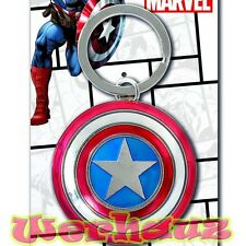 Marvel Comics Captain America Shield The Avengers Movie Pewter Keychain, New