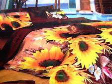 Glace cotton - Double Bed Sheet with 2 Pillow Covers Bright sunflowers
