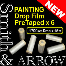 6x ROLLS PAINTING MASKING FILM PRE TAPED PLASTIC DROP PAINT ADHESIVE TAPE STICK