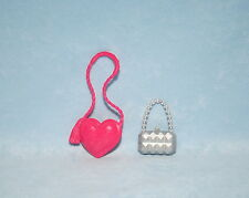 DARK PINK Heart Shaped Purse Silver Pillowed Purse LOT Genuine BARBIE
