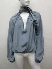 Jean Paul GAULTIER MADE IN ITALY Amazing Self Tie Gray Silk Top Size 8