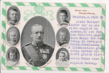 Vintage Postcard King Frederick Augustus III of Saxony & Children