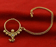 Ethnic Traditional Nose Chain Ring Goldtone Hoop Nath Indian Bollywood Jewelry