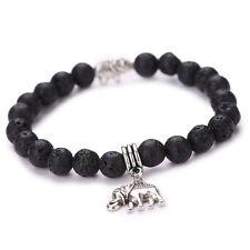 Natural Stone Silver Elephant Chakra Healing Reiki Prayer Wishes Beads Bracelet