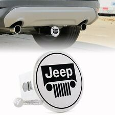 "JEEP Polished Stainless Steel Hitch Cover Cap Plug For 2"" Trailer Tow Receiver"