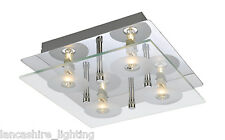 Square Flush Ceiling Light In Chrome With Glass Diffuser 4 x Halogen Bulbs Incl