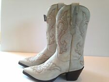 "Dan Post Womens El Paso 11"" Distressed White Leather Western Boots DP3248 Size 9"