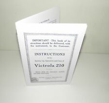 Victor Victrola 210 Gramophone Phonograph  Instruction Manual Reproduction