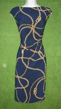 LRL Ralph Lauren Blue Gold Chain Stretch Jersey Social Work Dress 8 $134