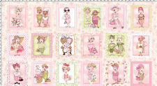 "Loralie Designs On the Mend Pink Ladies Cotton Fabric Panel 43"" x 23"""