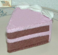 felt food play toy 1 CHOCOLATE CAKE WEDGE WITH PINK FROSTING AND WHITE CREAM EDG