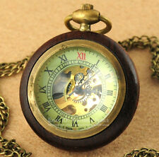 Retro Wood & Bronze Skeleton Mechanical Steampunk Hand Winding Pocket Watch FOB
