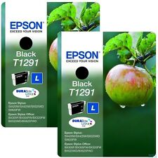 ORIGINAL 2 X T1291 BLACK INK FOR EPSON OFFICE B42W