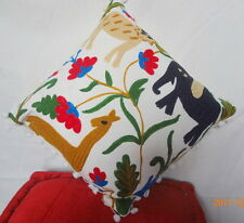 """Suzani Embroidered Cushion Cover 16"""" Indian Pillows Pom Pom Vintage Decor Throw"""