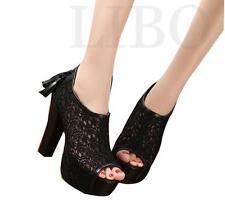 Women Summer Peep toe Floral Lace Mesh Platform Stilettos High Heel Shoe Sandals