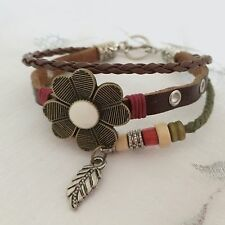 NEW BROWN LEATHER FLOWER, FEATHER AND BEAD WRAP AROUND CHARM BRACELET