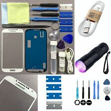 Samsung Galaxy S4 Front Glass lens Screen Replacement Repair Kit WHITE +UV Torch