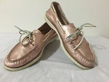 SPERRY Top Sider Boat Shoes Pink Metallic Leather Size 9M