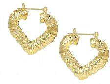 Gold Plated Hallow Heart  Bamboo hoop Earrings 2.25 Inches Drop.