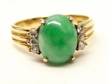 Vtg 14K Gold Green Jade Diamond Ring Sz 8.5 Jadeite Chinese White Cocktail