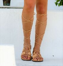 Ancient Greek Sandals,Real Leather Gladiator sandals,Lace up Flat Shoes ,Tan