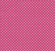 Raspberry Pink & Ivory White Small Polka Dot Cotton Fabric by Makower - FQ