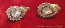 Elegant Vintage Trifari Gold Tone  Rhinestone Tear Drop Clip on Earrings