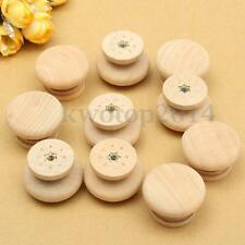 10pcs 36mm Natural Wood Wooden Drawer Wardrobe Door Cabinet Knob Pull With Screw