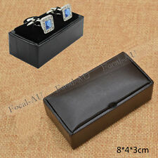 Men Cuff-link Storage Boxes Black PU Leather Jewellery Display Holder Case Gift