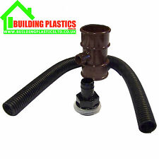 WATER BUTT DIVERTER FOR 50MM ROUND DOWNPIPE BROWN - FLOPLAST MINIFLO RANGE