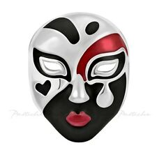 Lovelinks Bead Sterling,Viennese Mask Black, Red, White Enamel Charm TE052BKRD