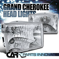 93-98 Jeep Grand Cherokee Chrome Crystal Headlights Clear Head Lamps