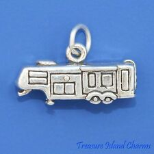 RV 5TH WHEEL TRAILER CAMPER CARAVAN 3D .925 Sterling Silver Charm MADE IN USA
